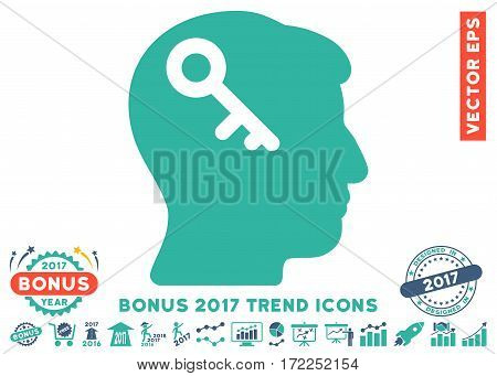 Cobalt And Cyan Head Key pictograph with bonus 2017 trend pictograph collection. Vector illustration style is flat iconic bicolor symbols white background.