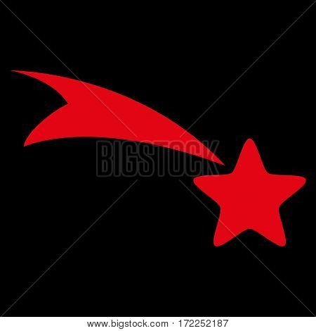 Falling Star flat icon. Vector red symbol. Pictogram is isolated on a black background. Trendy flat style illustration for web site design logo ads apps user interface.