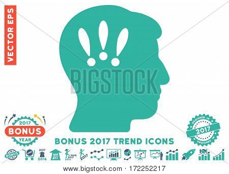 Cobalt And Cyan Head Problems pictograph with bonus 2017 year trend icon set. Vector illustration style is flat iconic bicolor symbols white background.