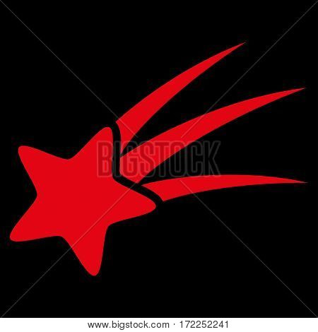 Falling Star flat icon. Vector red symbol. Pictograph is isolated on a black background. Trendy flat style illustration for web site design logo ads apps user interface.