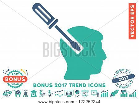 Cobalt And Cyan Head Screwdriver Tuning icon with bonus 2017 trend pictograph collection. Vector illustration style is flat iconic bicolor symbols white background.