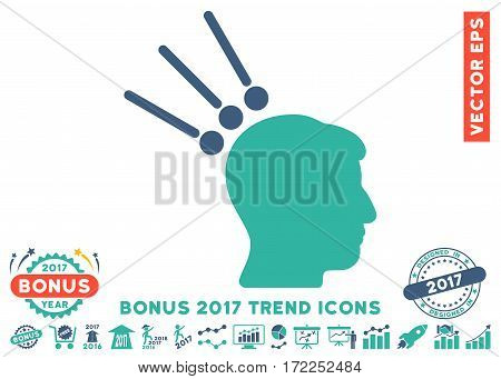 Cobalt And Cyan Head Test Connectors icon with bonus 2017 year trend symbols. Vector illustration style is flat iconic bicolor symbols white background.