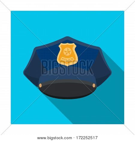 Police cap icon in flat design isolated on white background. Police symbol stock vector illustration.
