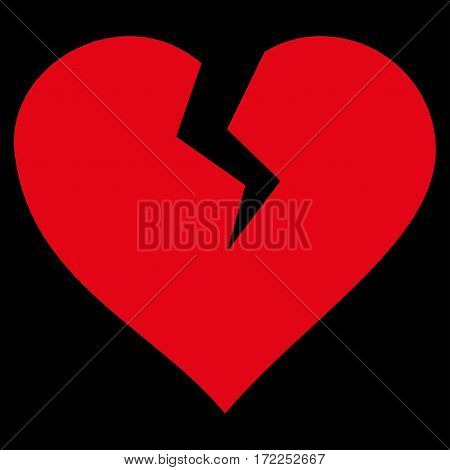 Heart Break flat icon. Vector red symbol. Pictogram is isolated on a black background. Trendy flat style illustration for web site design logo ads apps user interface.