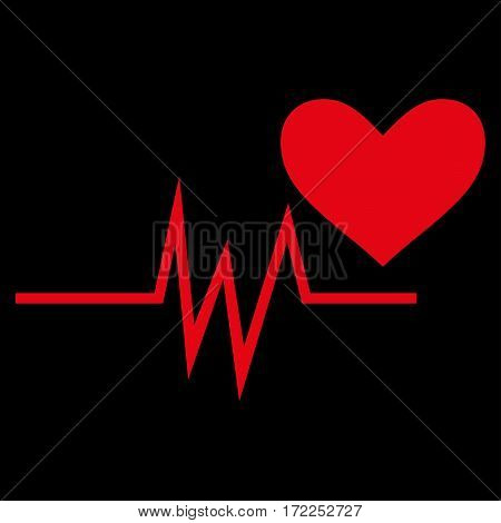 Heart Pulse Signal flat icon. Vector red symbol. Pictograph is isolated on a black background. Trendy flat style illustration for web site design logo ads apps user interface.
