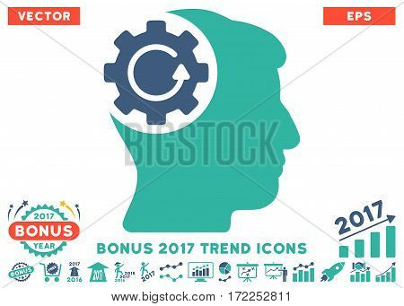 Cobalt And Cyan Intellect Gear Rotation pictogram with bonus 2017 trend pictograph collection. Vector illustration style is flat iconic bicolor symbols white background.
