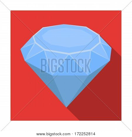 Diamond icon in flat design isolated on white background. Precious minerals and jeweler symbol stock vector illustration.