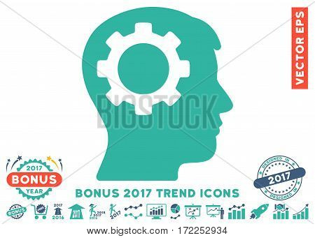 Cobalt And Cyan Intellect Gear icon with bonus 2017 trend elements. Vector illustration style is flat iconic bicolor symbols white background.