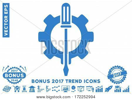 Cobalt Tuning Options Gear pictograph with bonus 2017 trend pictograph collection. Vector illustration style is flat iconic symbols white background.