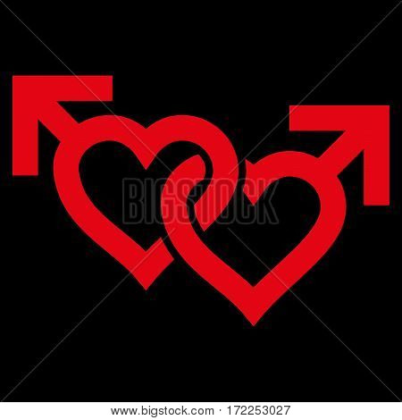 Linked Gay Hearts flat icon. Vector red symbol. Pictograph is isolated on a black background. Trendy flat style illustration for web site design logo ads apps user interface.