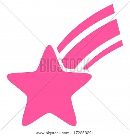 Falling Star flat icon. Vector pink symbol. Pictograph is isolated on a white background. Trendy flat style illustration for web site design logo ads apps user interface.