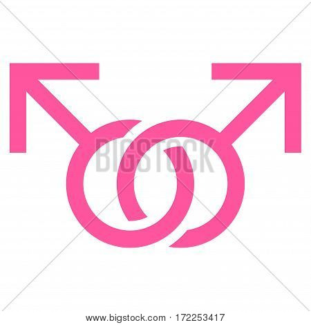 Gay Love Symbol flat icon. Vector pink symbol. Pictograph is isolated on a white background. Trendy flat style illustration for web site design logo ads apps user interface.