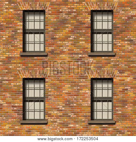 2d illustration of a brick wall with windows texture