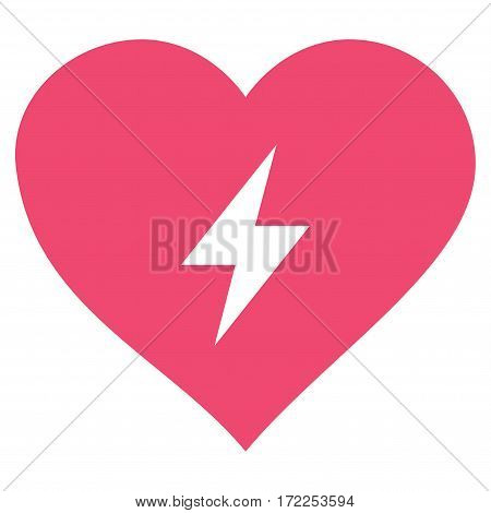 Heart Power flat icon. Vector pink symbol. Pictogram is isolated on a white background. Trendy flat style illustration for web site design logo ads apps user interface.