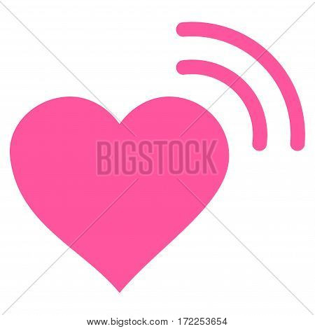 Heart Radio Signal flat icon. Vector pink symbol. Pictograph is isolated on a white background. Trendy flat style illustration for web site design logo ads apps user interface.