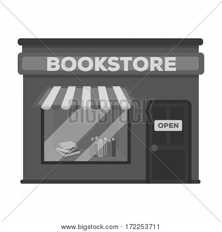 Bookstore icon in monochrome design isolated on white background. Library and bookstore symbol stock vector illustration.