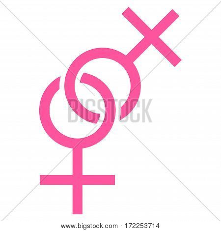 Lesbian Love Symbol flat icon. Vector pink symbol. Pictograph is isolated on a white background. Trendy flat style illustration for web site design logo ads apps user interface.