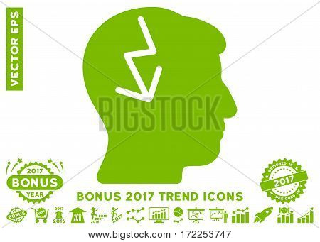 Eco Green Brain Electric Strike pictogram with bonus 2017 year trend pictures. Vector illustration style is flat iconic symbols white background.