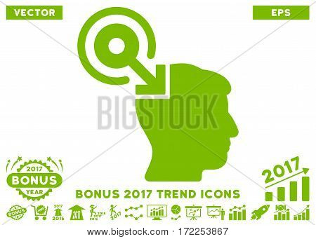 Eco Green Brain Interface Plug-In pictogram with bonus 2017 trend pictograms. Vector illustration style is flat iconic symbols white background.