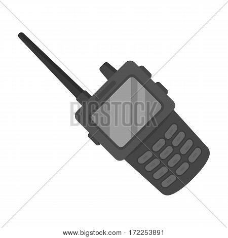 Handheld transceiver icon in monochrome design isolated on white background. Police symbol stock vector illustration.