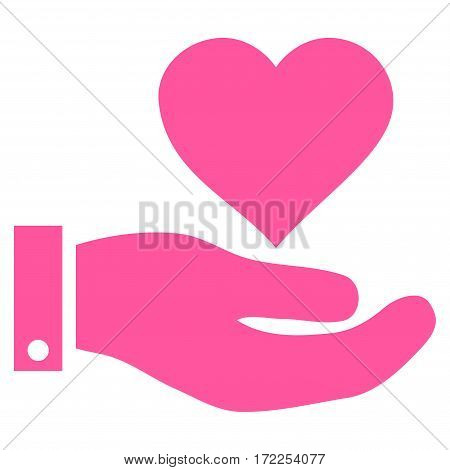 Love Heart Offer Hand flat icon. Vector pink symbol. Pictogram is isolated on a white background. Trendy flat style illustration for web site design logo ads apps user interface.
