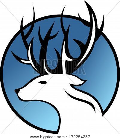 logo illustration animal horn deer simple on blue sky