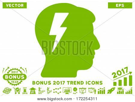 Eco Green Brainstorming pictograph with bonus 2017 trend pictograph collection. Vector illustration style is flat iconic symbols white background.