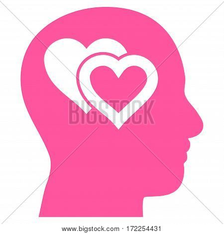 Love In Mind flat icon. Vector pink symbol. Pictograph is isolated on a white background. Trendy flat style illustration for web site design logo ads apps user interface.