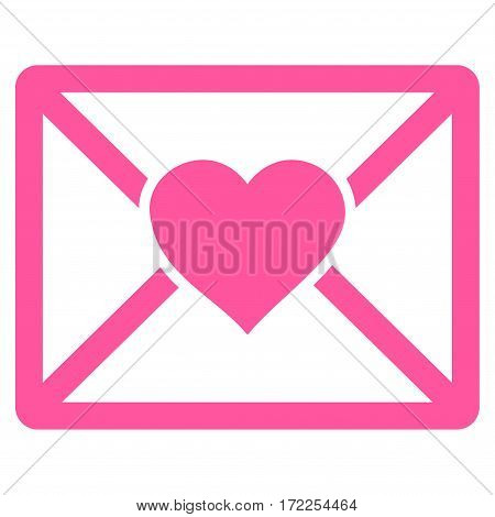 Love Letter flat icon. Vector pink symbol. Pictograph is isolated on a white background. Trendy flat style illustration for web site design logo ads apps user interface.
