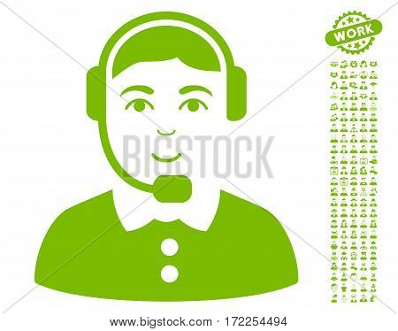 Call Center Operator pictograph with bonus occupation graphic icons. Vector illustration style is flat iconic eco green symbols on white background.