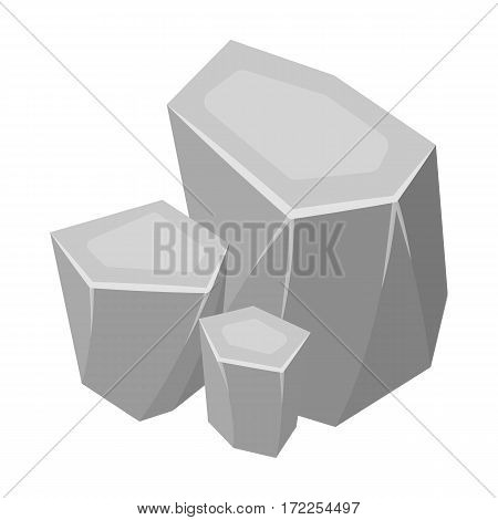 Light green rough gemstone icon in monochrome design isolated on white background. Precious minerals and jeweler symbol stock vector illustration.