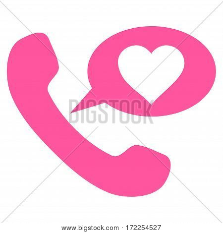 Love Phone Message flat icon. Vector pink symbol. Pictograph is isolated on a white background. Trendy flat style illustration for web site design logo ads apps user interface.