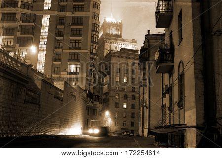 dark street on the old European city