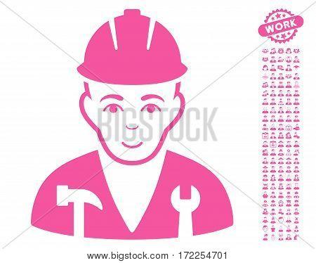 Serviceman icon with bonus human design elements. Vector illustration style is flat iconic pink symbols on white background.