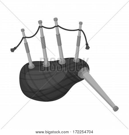 Scottish bagpipes icon in monochrome design isolated on white background. Scotland country symbol stock vector illustration.