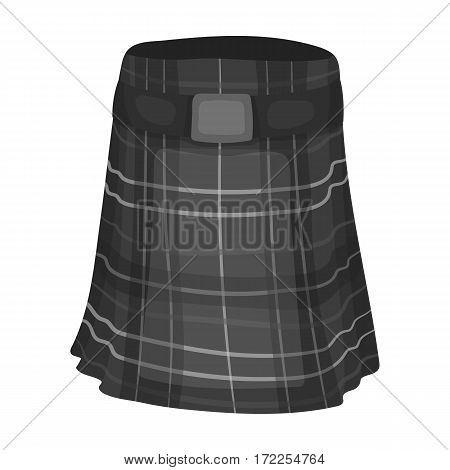 Kilt icon in monochrome design isolated on white background. Scotland country symbol stock vector illustration.