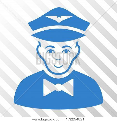 Cobalt Airline Steward toolbar icon. Vector pictograph style is a flat symbol on diagonal hatch transparent background.