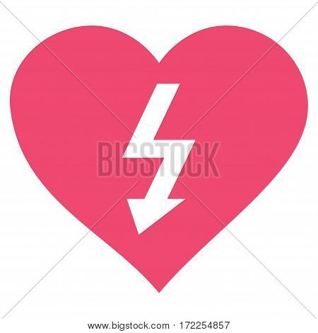 Power Love Heart flat icon. Vector pink symbol. Pictograph is isolated on a white background. Trendy flat style illustration for web site design logo ads apps user interface.