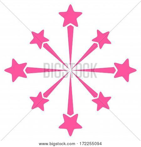 Star Burst Fireworks flat icon. Vector pink symbol. Pictogram is isolated on a white background. Trendy flat style illustration for web site design logo ads apps user interface.