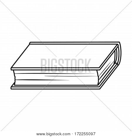 Green book icon in outline design isolated on white background. Books symbol stock vector illustration.