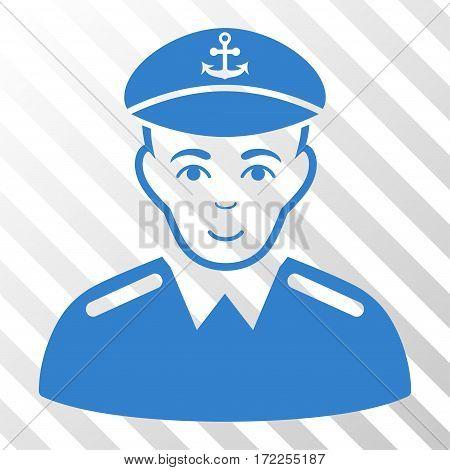 Cobalt Captain interface pictogram. Vector pictogram style is a flat symbol on diagonal hatch transparent background.