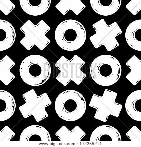 Vector Black and white seamless texture tic tac toe