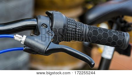 The Bicycle handlebar and brake close up