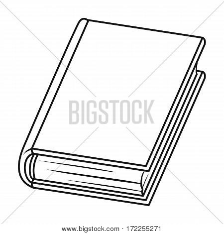 Violet book icon in outline design isolated on white background. Books symbol stock vector illustration.