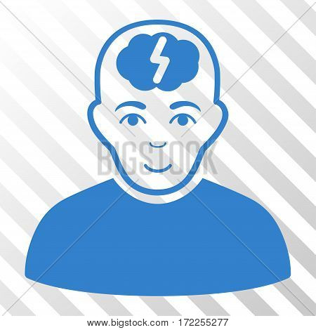 Cobalt Clever Boy interface icon. Vector pictograph style is a flat symbol on diagonally hatched transparent background.