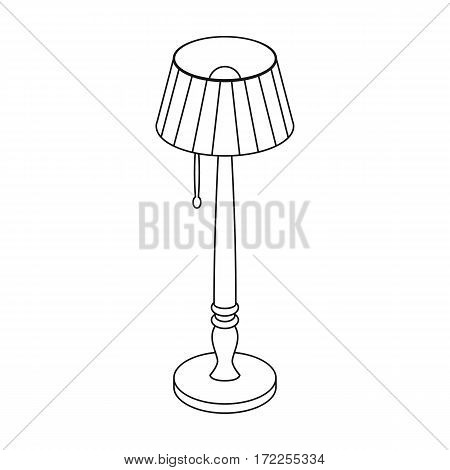 Wooden floor lamp icon in outline design isolated on white background. Library and bookstore symbol stock vector illustration.