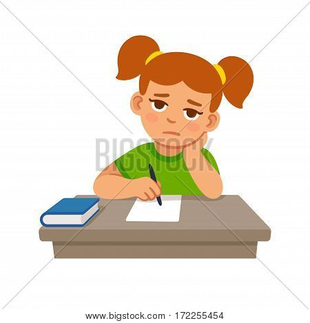 Bored school girl doing homework. Cute cartoon vector illustration.