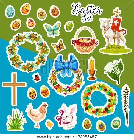 Easter holiday sticker set. Easter egg, rabbit bunny, chicken, chick, lamb of God, basket with egg, Easter wreath with egg, spring lily flower and willow tree twig, cross, candle, butterfly and grass