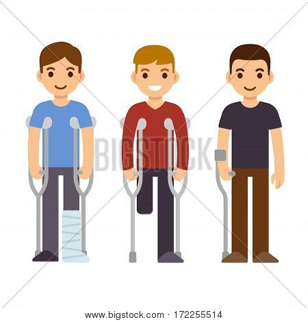 Disability and trauma cartoon people set. Men with crutches and walking stick vector illustration.