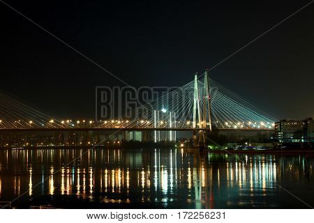 cable-stayed bridge in St. Petersburg russia, city light